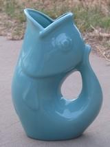 "Gurgle Pot Aqua Stoneware Fish Shaped 9.5"" Pitcher Vase   - $38.50"