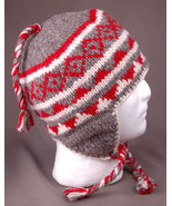 Vtg Winter Hat-100% Wool-Ear Flaps-Red Gray-Soft Lining-Chunky-Made in N... - $37.39