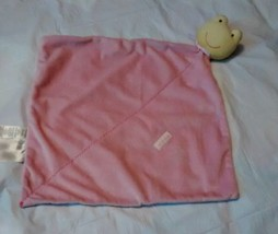 Precious Firsts Frog Security Blanket Pink Green Rattle Plush Carter's A... - $16.99