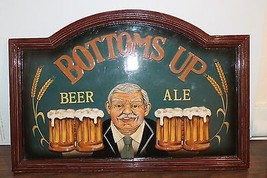 BEER ALE BUTTOMS UP 3D WOODEN BEER SIGN Bar Decor - $19.78