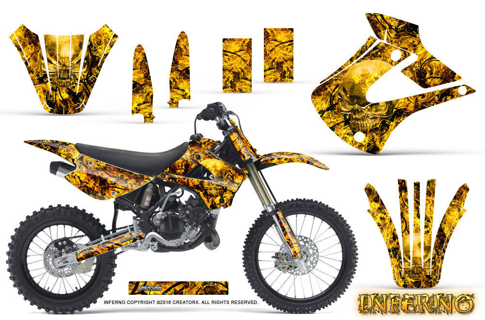 Primary image for Kawasaki KX85 KX100 2001-2013 Graphics Kit CREATORX Decals INFERNO Y