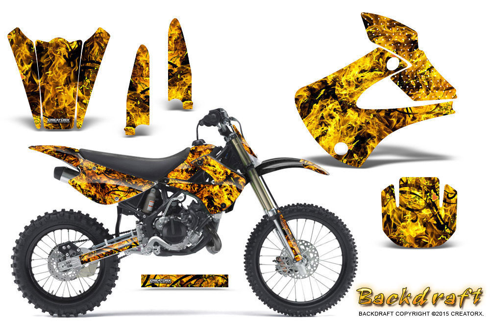 Primary image for Kawasaki KX85 KX100 2001-2013 Graphics Kit CREATORX Decals BACKDRAFT Y