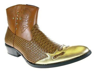 Men`s Synthetic Snake Skin Western Cowboy Boots Brown Cheap New Padded Insole