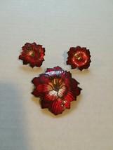 Vintage 3 Pc Deep Red Flower Brooch and Earrings - $24.74