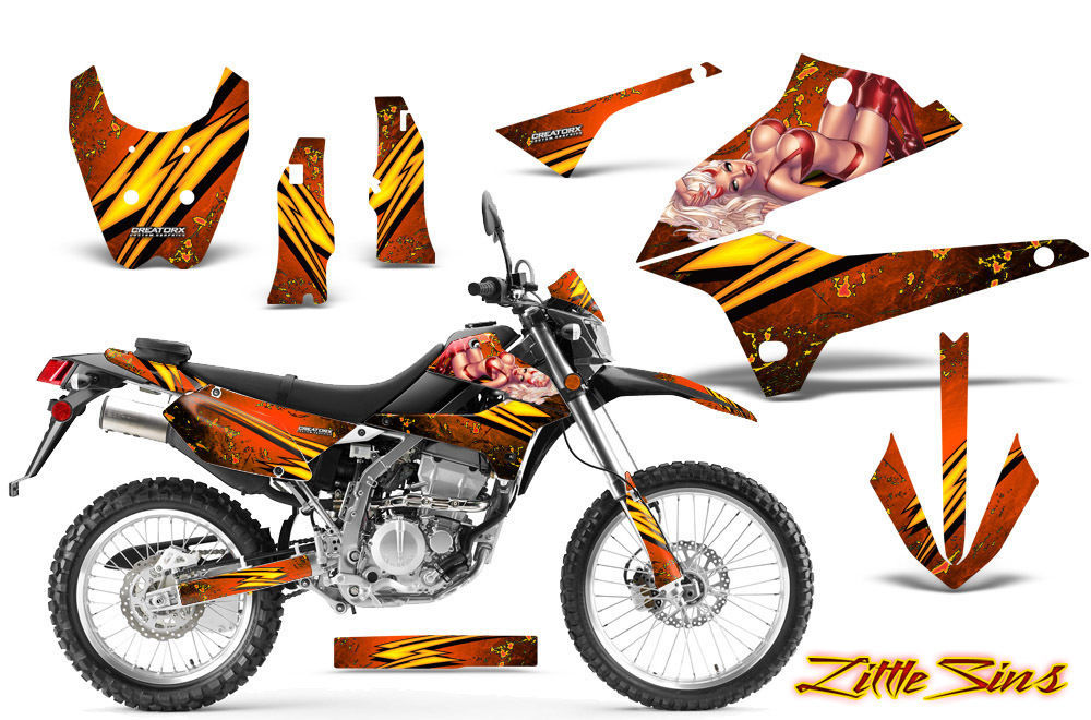 Primary image for KAWASAKI KLX 250 08-13 D TRACKER GRAPHICS KIT CREATORX DECALS STICKERS LSONP