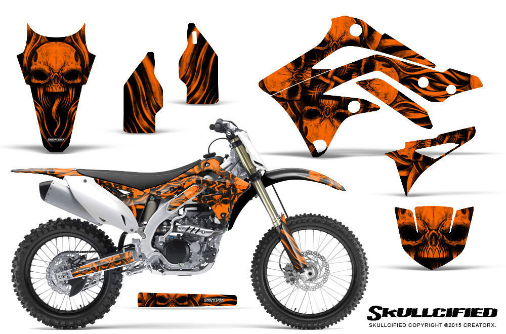 Primary image for KAWASAKI KXF450 KX450F 12-15 CREATORX GRAPHICS KIT DECALS SKULLCIFIED O