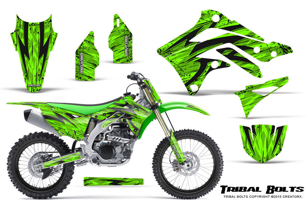 Primary image for KAWASAKI KXF450 KX450F 12-15 CREATORX GRAPHICS KIT DECALS TRIBAL BOLTS GNP