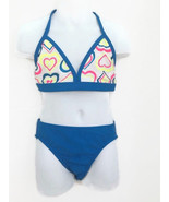 NWT OP OCEAN PACIFIC Medium 7-8 girls Blue with Neon Hearts 2 PIECE Swim... - $18.00