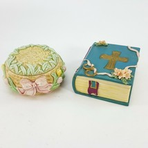 Vintage Little Cheesers Trinket Box Set Bible w/ Cross & Easter Spring Tulips - $19.35