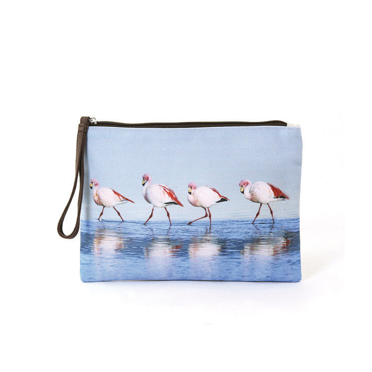Blue Walking Flamingos Canvas Zippered Clutch Wristlet Bag,Zips Closed,Lined,10""