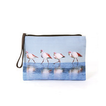 Blue Walking Flamingos Canvas Zippered Clutch Wristlet Bag,Zips Closed,L... - €8,62 EUR