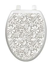 Toilet Tattoos LOVELY LACE Lid Cover  Decor Silver Reusable Vinyl #1089 - $16.95