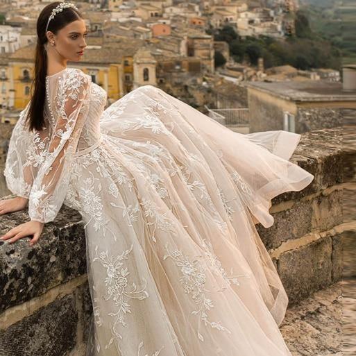 Ing dress 2020 elegant scoop neck long sleeve vintage bride d77f4a48 44e5 4e22 a13a bbe67d5c2ea4