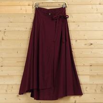 Women High Waist Wrap Skirts Ankle Length Linen Cotton Skirt,Khaki Wine-red Gray image 3