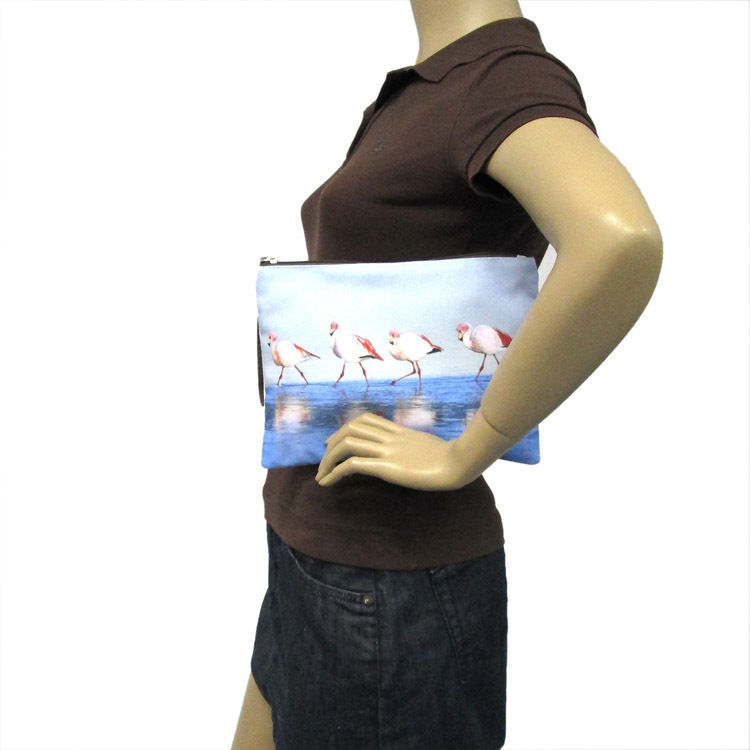 """Blue Walking Flamingos Canvas Zippered Clutch Wristlet Bag,Zips Closed,Lined,10"""""""