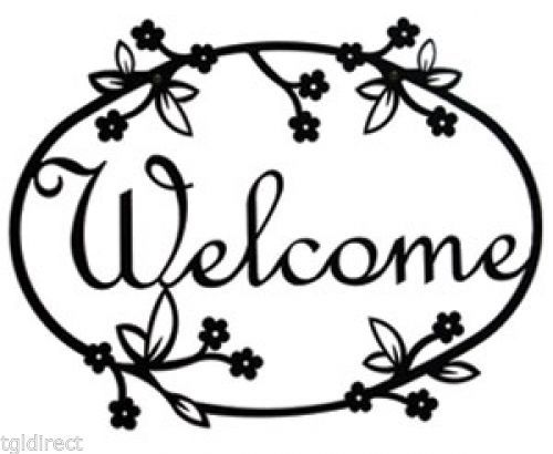 Wrought Iron Welcome Sign Floral Silhouette Outdoor Home Decor Flower Plaque