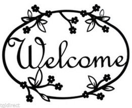 Wrought Iron Welcome Sign Floral Silhouette Outdoor Home Decor Flower Pl... - €21,22 EUR