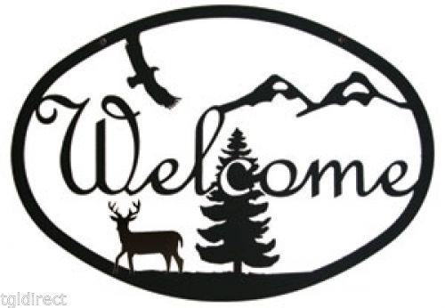 Primary image for Wrought Iron Welcome Sign Deer Silhouette Forest Nature Eagle Home Wall Plaque