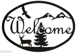 Wrought Iron Welcome Sign Deer Silhouette Forest Nature Eagle Home Wall ... - $24.99