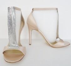 NIB Via Spiga Timone T-Strap Satin Dress Heels Sandals Sz 10 M Champagne $295 - $138.55