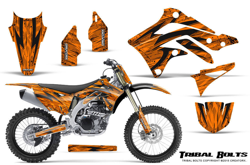 Primary image for KAWASAKI KXF450 KX450F 12-15 CREATORX GRAPHICS KIT DECALS TRIBAL BOLTS ONP
