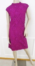 Nwt Donna Morgan Funnel Neck Lace Shift Dress Knee Length Sz 12 Violet, $178 - $79.15