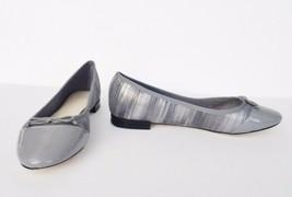 NIb Cole Haan Sarina Snake Embossed Leather Ballet Flat Shoes Sz 8.5 M Ironstone - $89.05