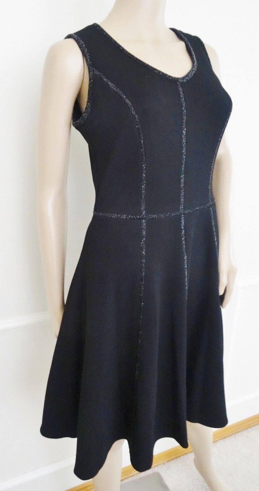 Nwt Taylor Stretch Fit  Flare Embellished Trim Sleeveless Dress Sz 10 Black $138