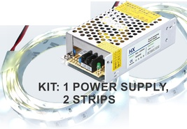 Kit: 150W Power Supply+ 2x 16' LED Strips, Bright White, Hi-Lumen, Hi-Eff - $83.30