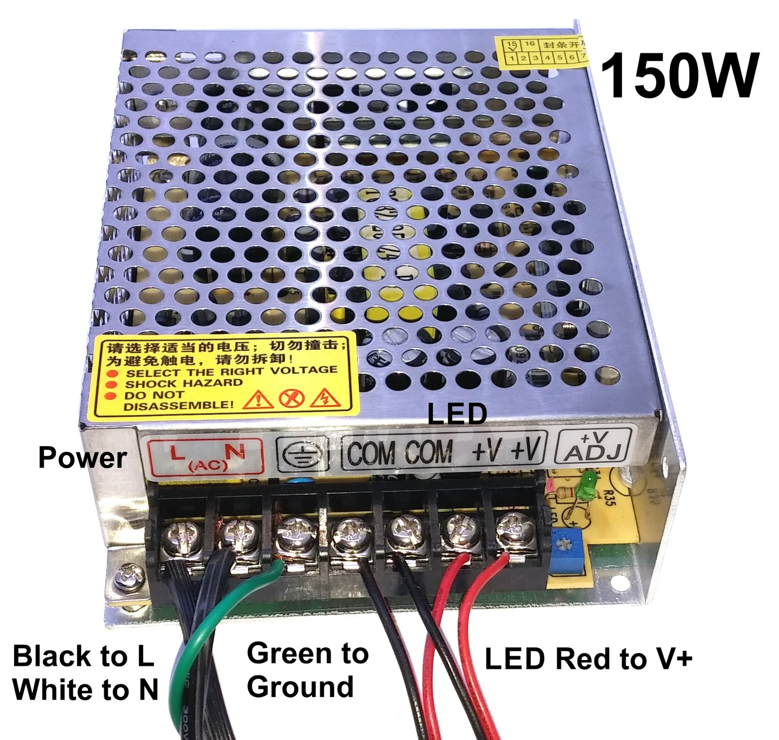 Kit: 150W Power Supply+ 2x 16' LED Strips, Bright White, Hi-Lumen, Hi-Eff