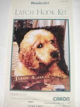 Caron Puppy Love Latch Hook Kit Yellow Lab Dog 12x12 WonderArt 4670 NIB - $14.84