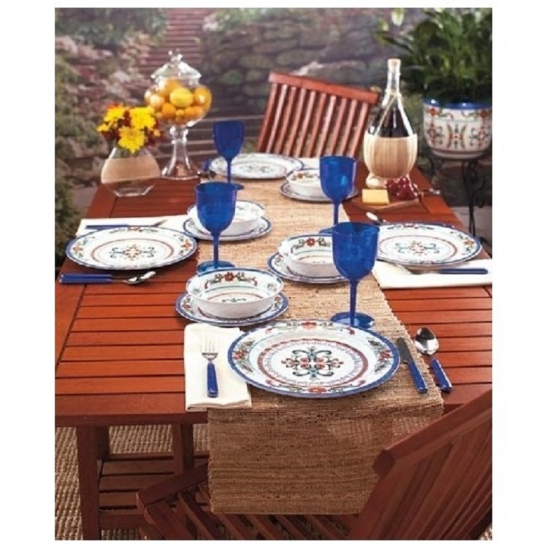 Melamine outdoor dining set 12 pc dinnerware and 17 for Outdoor dining sets for 12