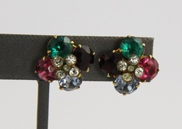 VINTAGE Jewelry FRUIT SALAD RHINESTONE SCREW BACK EARRINGS EARLY 1900S DECO - $15.00