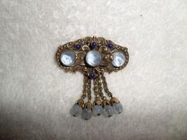 c1950s Original by Robert PIN BROOCH Powder Blue Stone Dangles Fashioncr... - $84.15