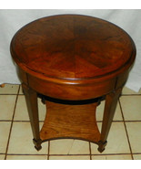 Round Walnut Book Match Veneered End Table / Si... - $349.00
