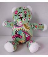"Vera Bradley Baby Tutti Fruitti Green Pink Flower 10"" Teddy Bear Plush - $15.63"