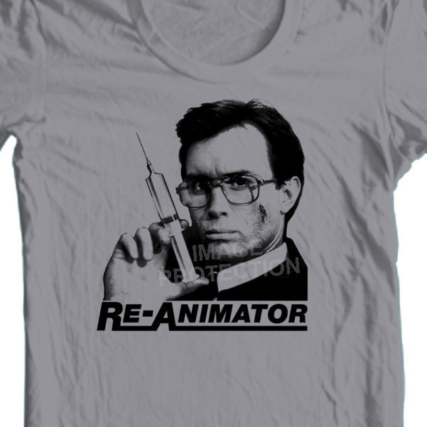 Re-Animator T-shirt  Herbert West retro horror film 80s 100% cotton graphic tee