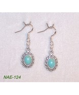 NAE-124 - Turquoise Cabochon Earrings on Sterli... - $9.90