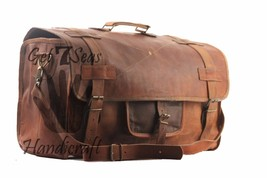 Men's Brown overnight Vintage Leather Aircabin Travel Luggage Duffle Gym... - $84.97