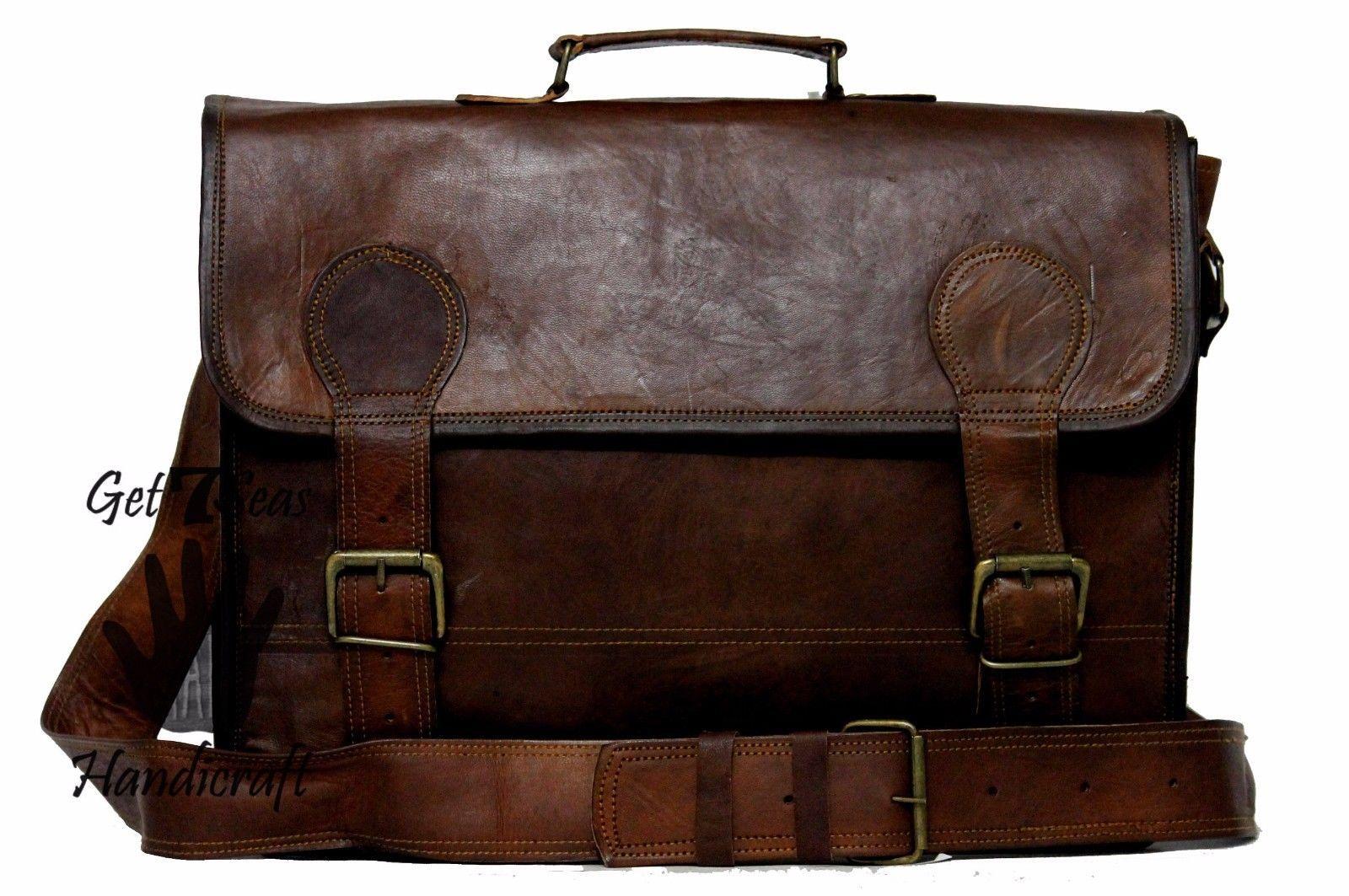 16 Men Vintage Brown Leather satchel Messenger Bag Shoulder Laptop Bag Briefcase