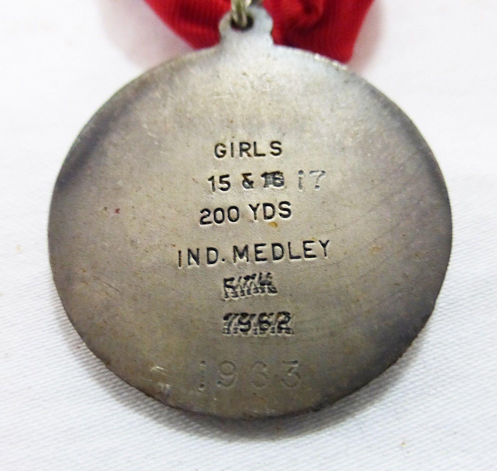 Vintage 1963 JR olympics medal girls short course 200yrd swimming sport