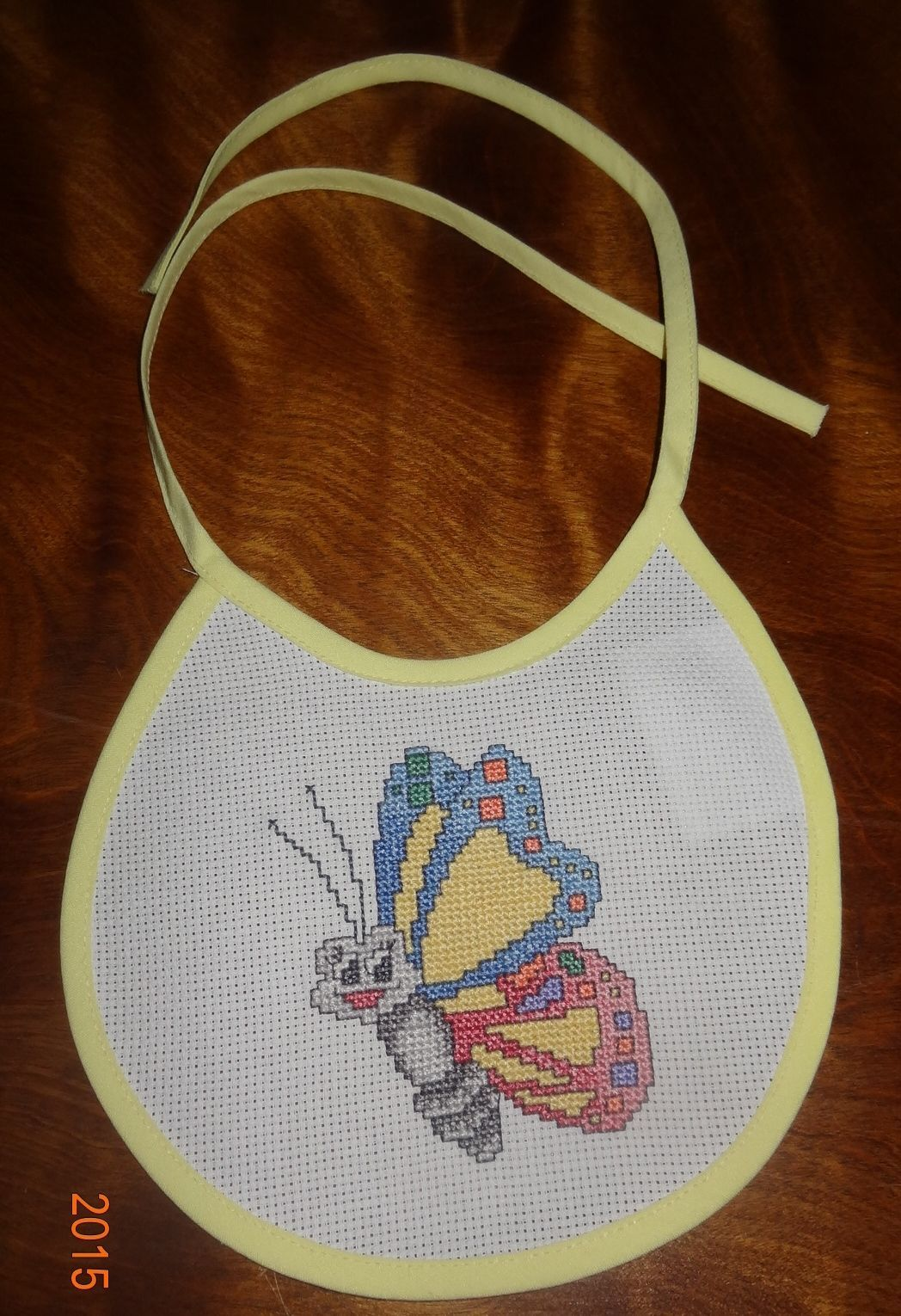 New Butterfly bib Baby girl boy unisex handmade Finished Cross Stitch U.S.A.