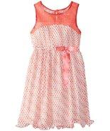Tween Big Girls 7-16 Coral Illusion Sequin Dot Print Chiffon Social Part... - $39.99