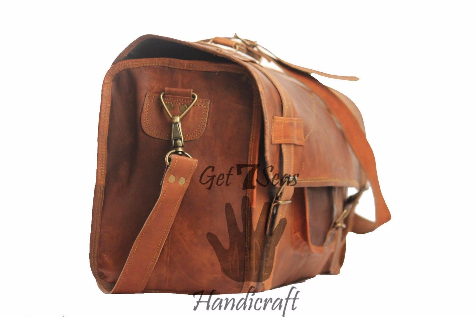 Men's Brown overnight Vintage Leather Aircabin Travel Luggage Duffle Gym Bag