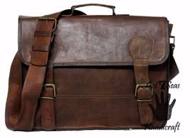 16 Men Vintage Brown Leather satchel Messenger Bag Shoulder Laptop Bag Briefcase image 3