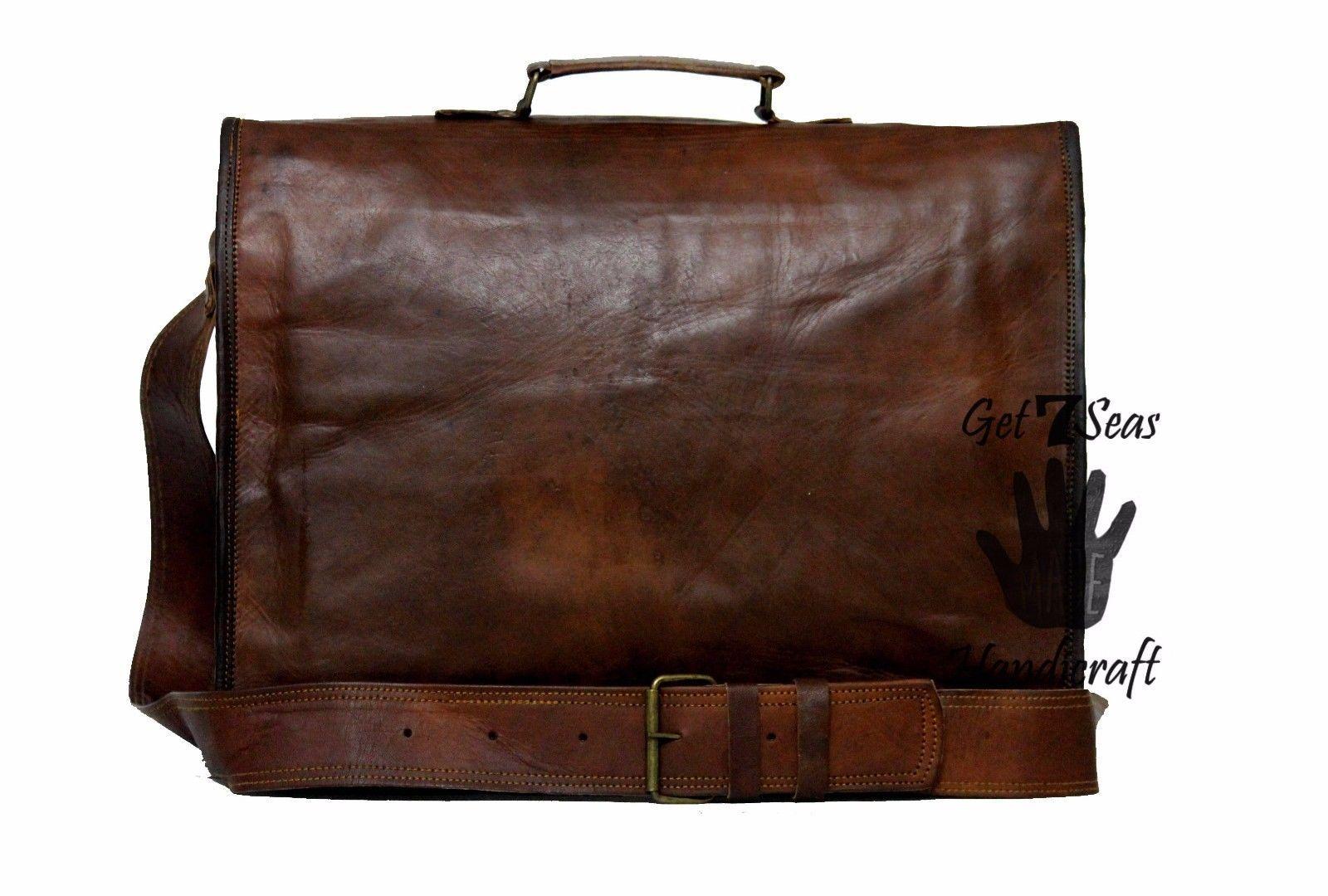 16 Men Vintage Brown Leather satchel Messenger Bag Shoulder Laptop Bag Briefcase image 8