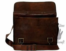 16 Men Vintage Brown Leather satchel Messenger Bag Shoulder Laptop Bag Briefcase image 9