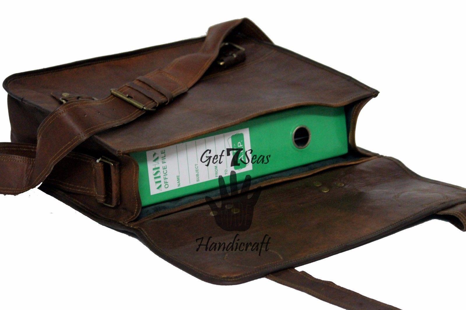 16 Men Vintage Brown Leather satchel Messenger Bag Shoulder Laptop Bag Briefcase image 10