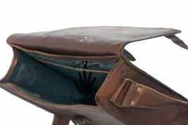 16 Men Vintage Brown Leather satchel Messenger Bag Shoulder Laptop Bag Briefcase image 11