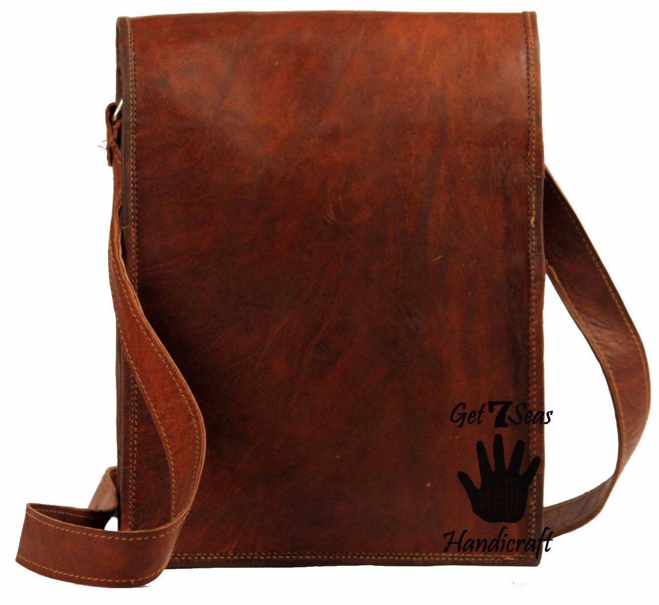 16 Men Vintage Brown Leather satchel Messenger Bag Shoulder Laptop Bag Briefcase image 5